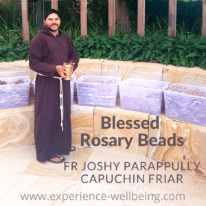 Donna Powers Rosary Beads are blessed by Fr Joshy Prappully a Capuchin Friar in Brisbane. Childrens rosary beads that are non-toxic colourful and wooden.