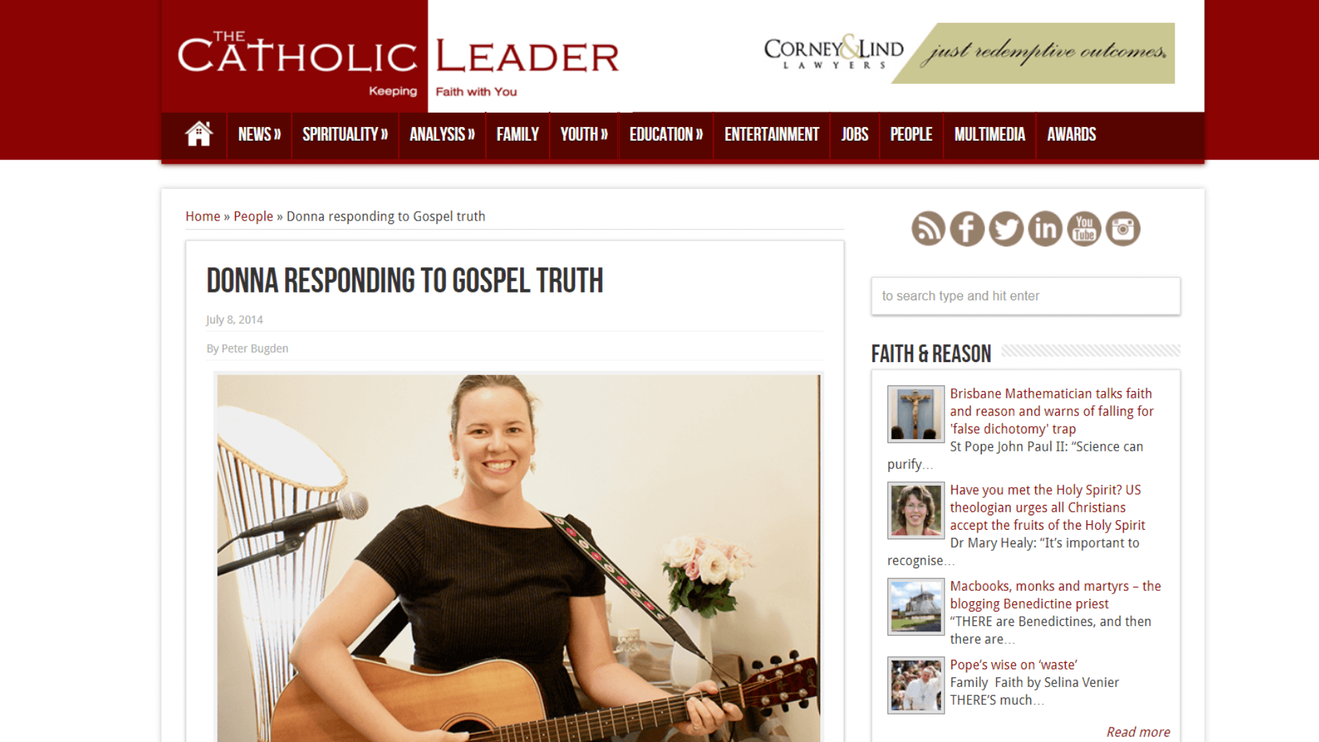 Donna Power catholic school retreats facilitator article by Peter Budgen in the Catholic Leader, Brisbane.