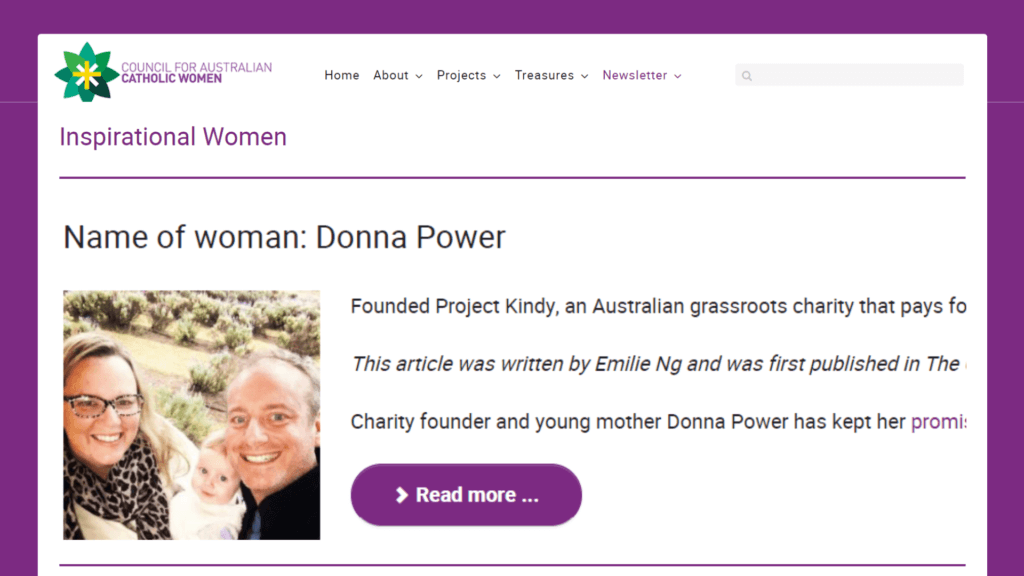 Donna Power from Experience Wellbeing Catholic school retreat facilitator in the Brisbane Catholic Archiocese article on Project Kindy by council for australian catholic women
