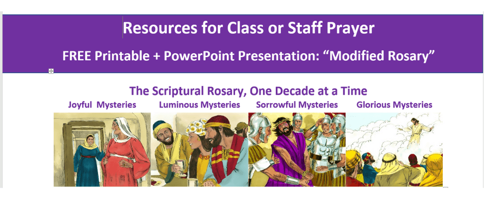 free classroom resources for catholic prayer, catholic education, classroom prayer, staff prayer, faith formation.