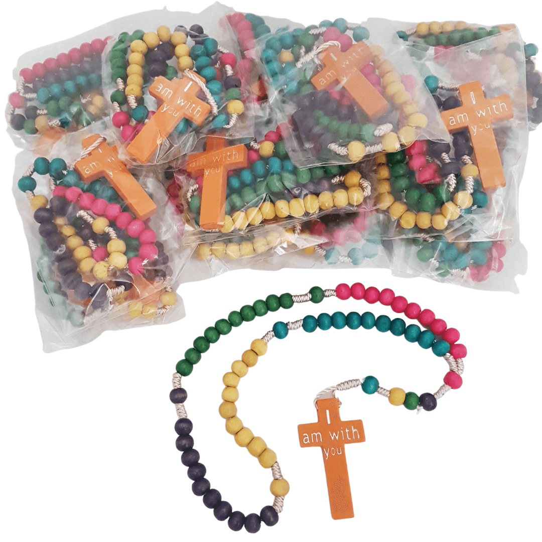 Rosary beads for children, wooden rosary beads with twine, non-toxic rosary beads