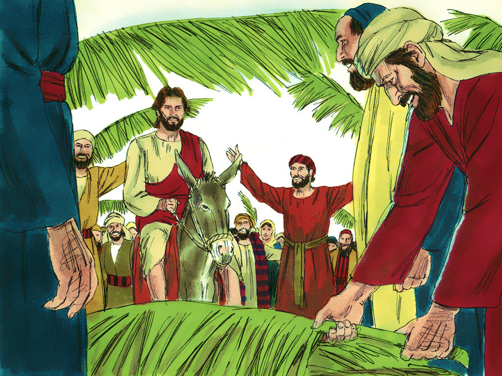 Palm Sunday cartoon by free bible images. palm sunday homily during covid19 picture.